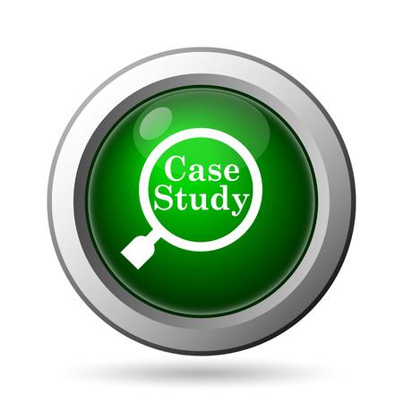 estuche: Icono Estudio de caso. Botón de internet sobre fondo blanco Foto de archivo