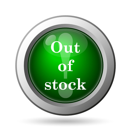 selling stocks: Out of stock icon. Internet button on white background