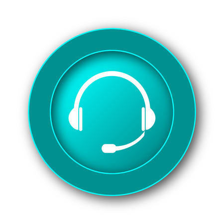 hear business call: Headphones icon. Internet button on white background