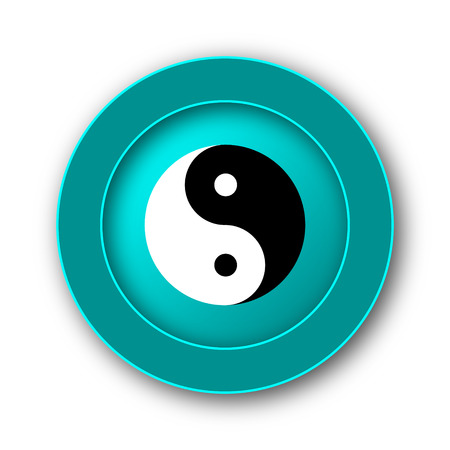 Ying yang icon. Internet button on white background photo