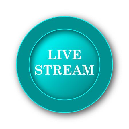 live stream icon: Live stream icon. Internet button on white background