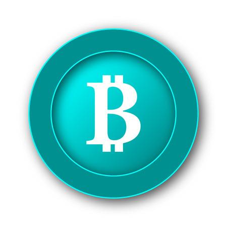 p2p: Bitcoin icon. Internet button on white background