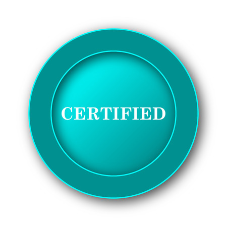 ratification: Certified icon. Internet button on white background