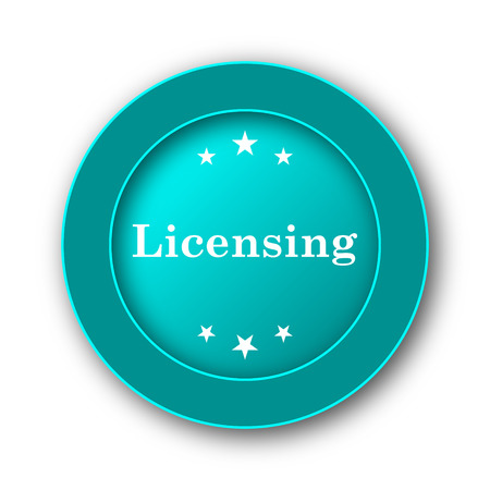 licensing: Licensing icon. Internet button on white background