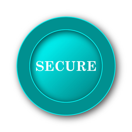 Secure icon. Internet button on white background photo