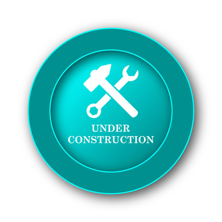 under construction icon: Under construction icon. Internet button on white background