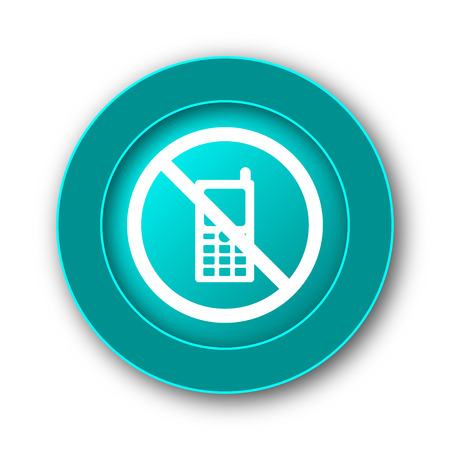 use regulation: Mobile phone restricted icon. Internet button on white background