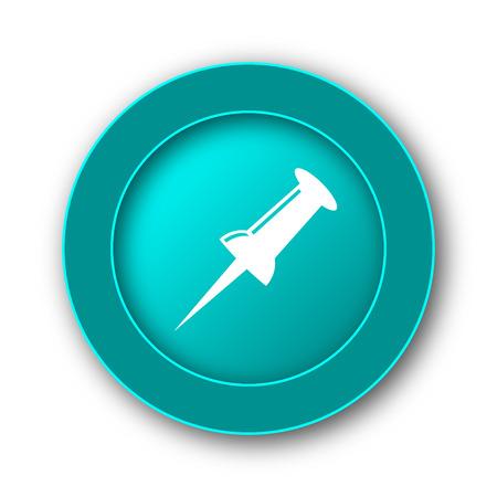 fixation: Pin icon. Internet button on white background