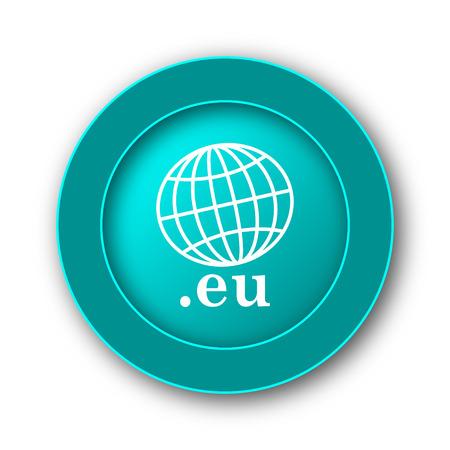 eu: .eu icon. Internet button on white background