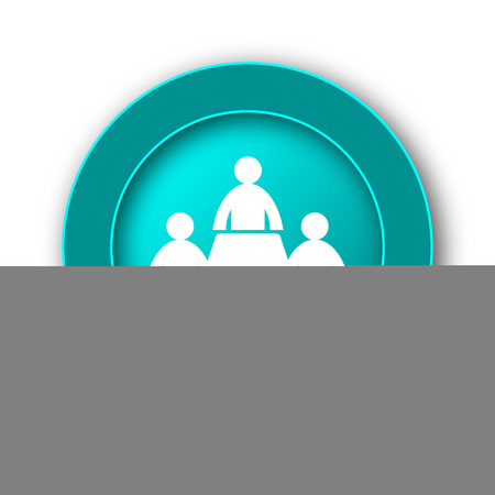 Meeting room icon. Internet button on white background photo