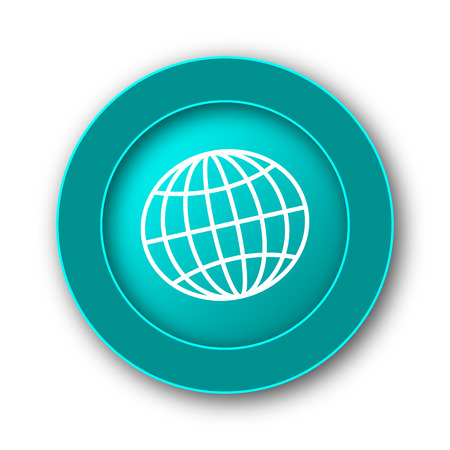 meridiano: Icono del globo. Botón de internet sobre fondo blanco