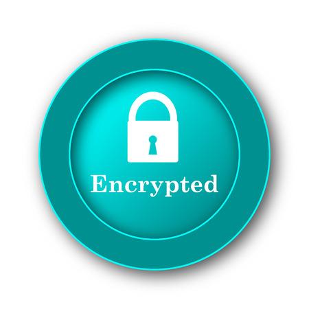 encrypted: Encrypted icon. Internet button on white background Stock Photo