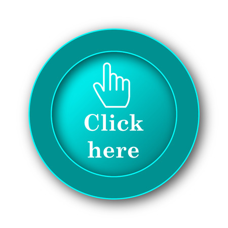clicking: Click here icon. Internet button on white background Stock Photo