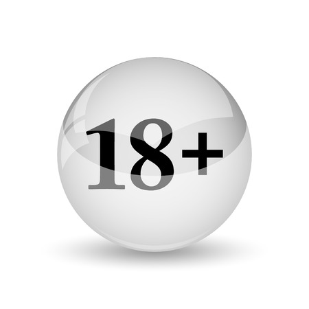 18 plus icon. Internet button on white background photo