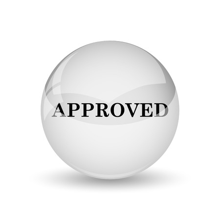 Approved icon. Internet button on white background