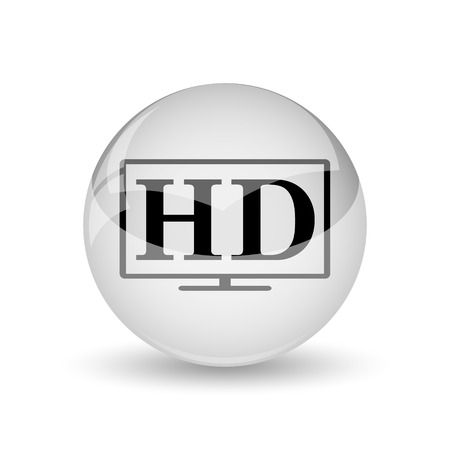 hd tv: HD TV icon. Internet button on white background Stock Photo
