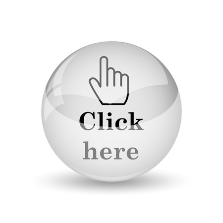 Click here icon. Internet button on white background Banque d'images