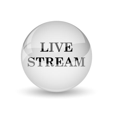 live stream button: Live stream icon. Internet button on white background