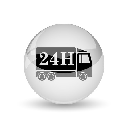 24h: 24H delivery truck icon. Internet button on white background Stock Photo