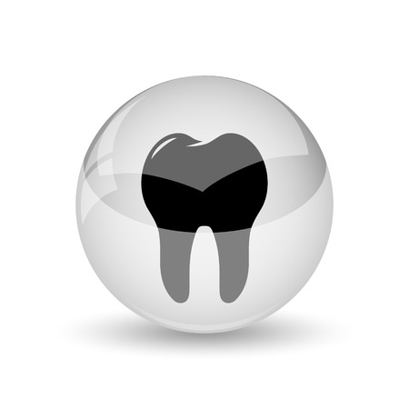 Tooth icon. Internet button on white background