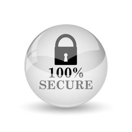 trustworthy: 100 percent secure icon. Internet button on white background Stock Photo