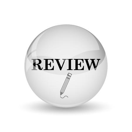 review icon: Review icon. Internet button on white background Stock Photo