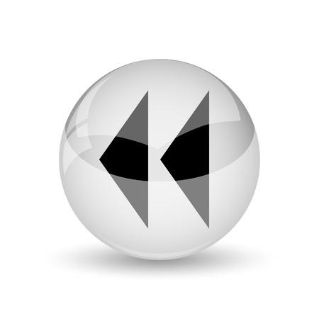 Rewind icon. Internet button on white background photo