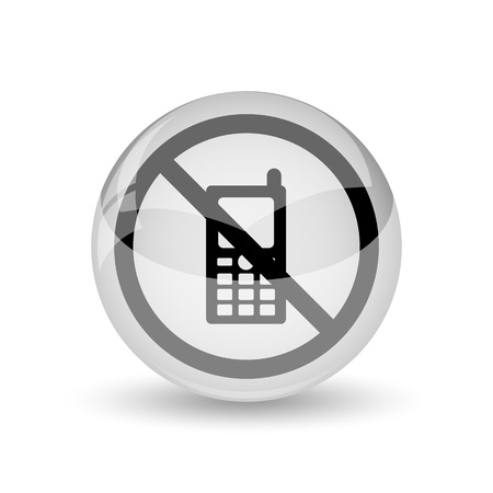 restricted icon: Mobile phone restricted icon. Internet button on white background
