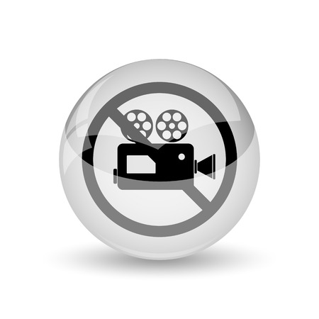 no cameras allowed: Forbidden video camera icon. Internet button on white background Stock Photo