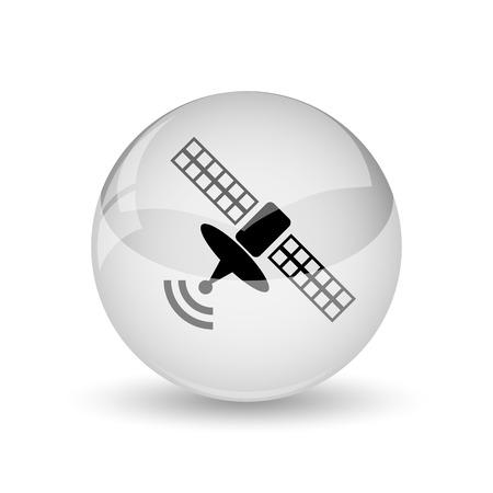 world receiver: Antenna icon. Internet button on white background