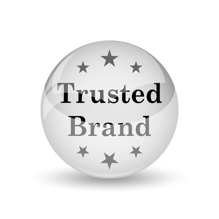 trusted: Trusted brand icon. Internet button on white background