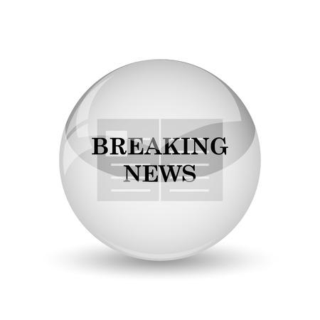newscast: Breaking news icon. Internet button on white background Stock Photo