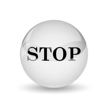 running off: Stop icon. Internet button on white background