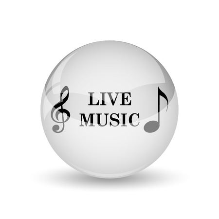 live stream sign: Live music icon. Internet button on white background