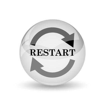 restart: Restart icon. Internet button on white background Stock Photo