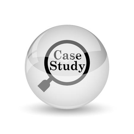study icon: Icono Estudio de caso. Bot�n de internet sobre fondo blanco Foto de archivo