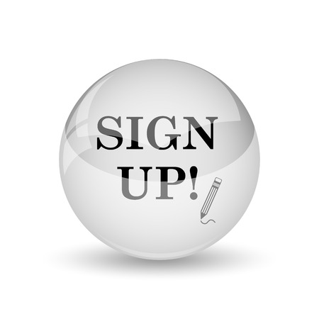 sign up icon: Sign up icon. Internet button on white background