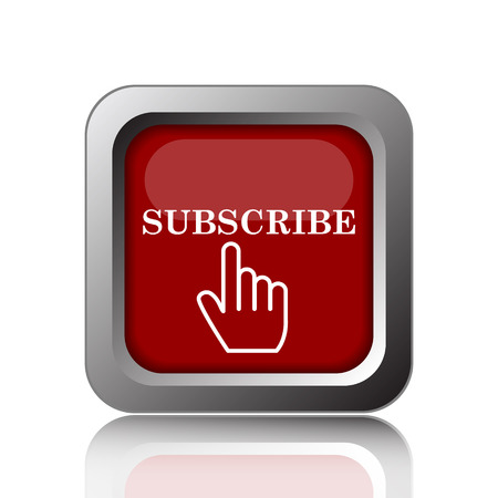 subscribing: Subscribe icon. Internet button on white background