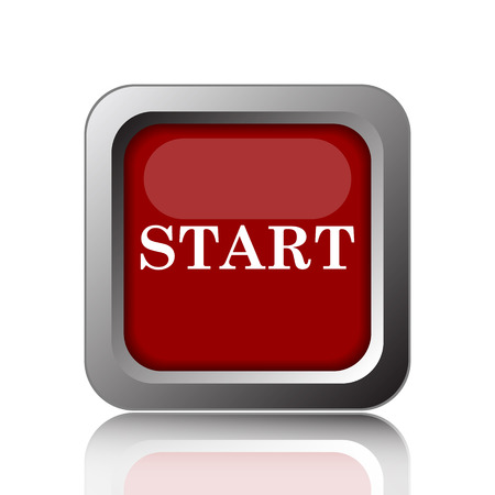 proceed: Start icon. Internet button on white background Stock Photo