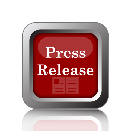 release: Press release icon. Internet button on white background