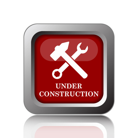 in the reconstruction: Under construction icon. Internet button on white background