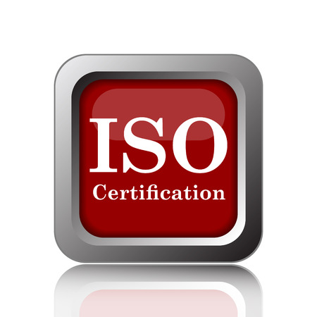 certification: ISO certification icon. Internet button on white background