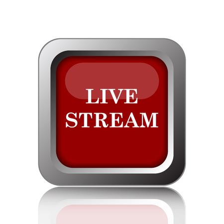 news cast: Live stream icon. Internet button on white background