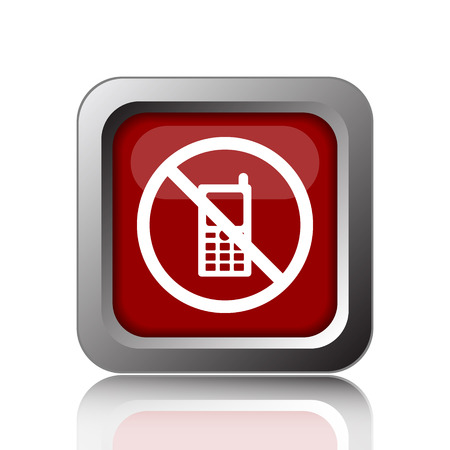 no cell phone: Mobile phone restricted icon. Internet button on white background