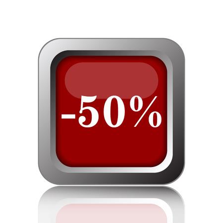 rebate: 50 percent discount icon. Internet button on white background