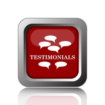 testimony: Testimonials icon. Internet button on white background Stock Photo