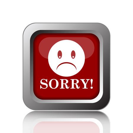 apologise: Sorry icon. Internet button on white background