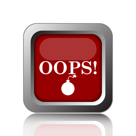 oops: Oops icon. Internet button on white background Stock Photo