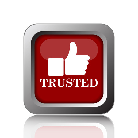 trusted: Trusted icon. Internet button on white background Stock Photo
