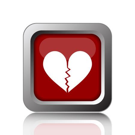 delusion: Broken heart icon. Internet button on white background